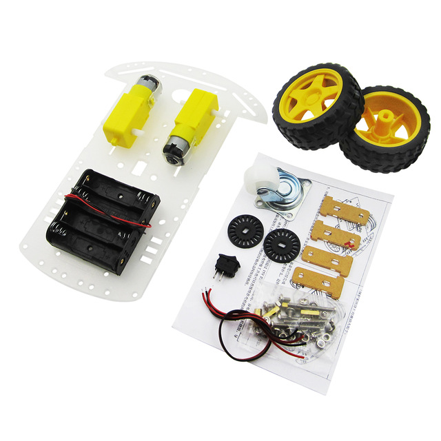 Free Shipping New Motor Smart Robot Car Chassis Kit Speed Encoder Battery Box 2WD 2 wheel drive robot chassis kit 1 deck
