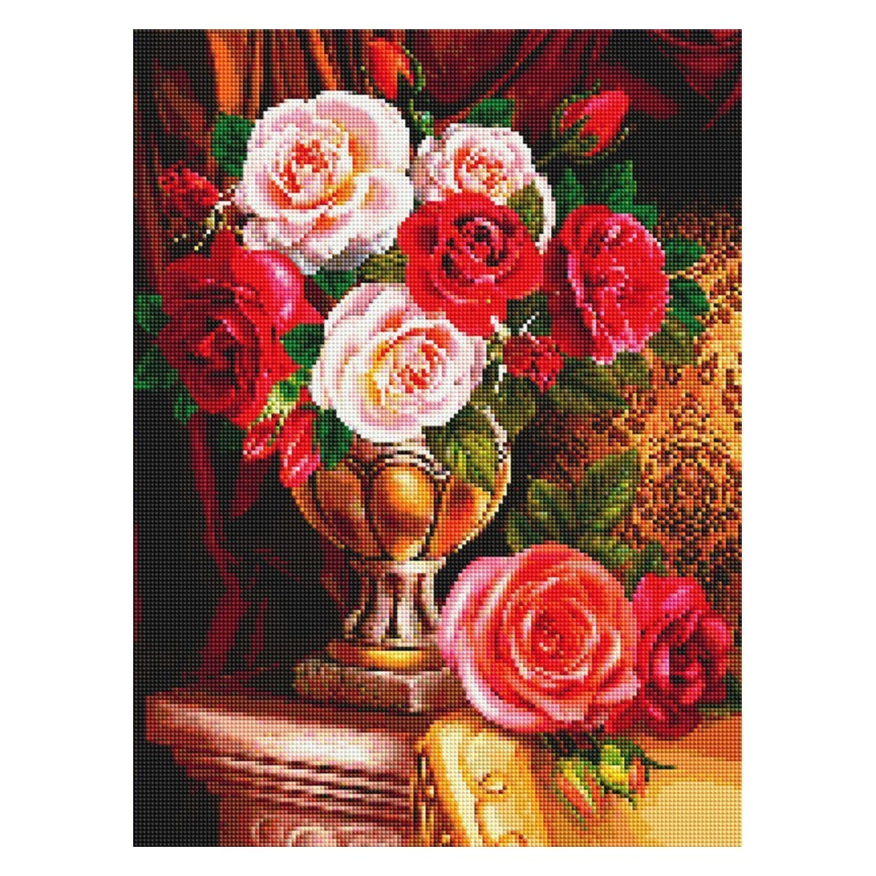 AZQSD Diamond Painting Flowers Rhinestones Pictures New Diamond Embroidery 2019 Home Decoration Diamond Mosaic Full Display in Diamond Painting Cross Stitch from Home Garden