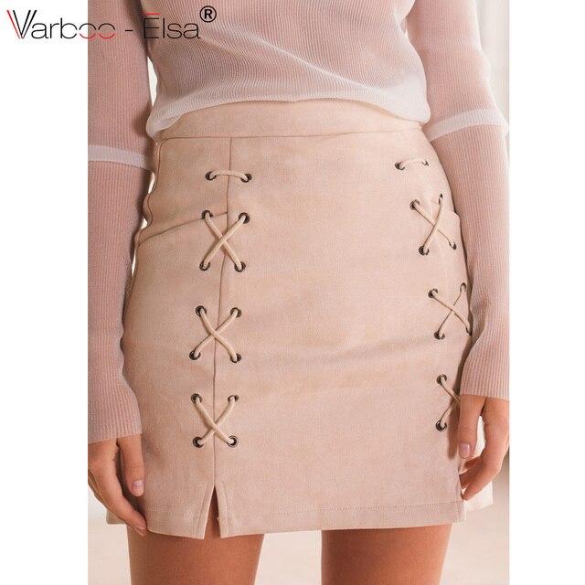 032d4e35c191 VARBOO ELSA 2017 Spring Summer Women Suede Midi Skirt High Waist Office  saia midi pink black zipper A Line skirt bandage design