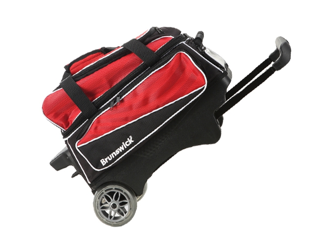 Bowling supplies bowling Bag 1680 cloth fabric bowling bag with large transparent wheel Telescoping handle double ball bag.