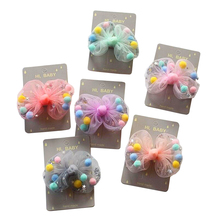 2pcs Cute Princess Chiffon Bowknot hair clip 3.15 bow hairgrip pom gauze barrette accessories for girls kids