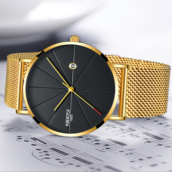 NIBOSI Men's Simple Top Brand Luxury Clock Slim Mesh Steel Waterproof Sport Quartz Watches 1