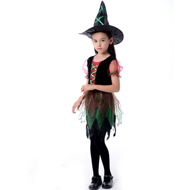 Girl/'s Feather Witch Dress Up Kids Costume Cosplay Halloween Party Outfit