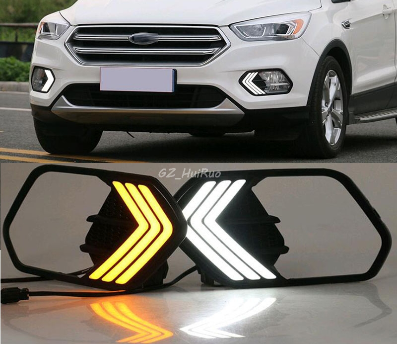 1pair LED  Car Accessories Waterproof 12V Daytime Running Lights/ Running Light  Fog Lamp For Ford Escape Kuga 2017 new arrival a pair 10w pure white 5630 3 smd led eagle eye lamp car back up daytime running fog light bulb 120lumen 18mm dc12v