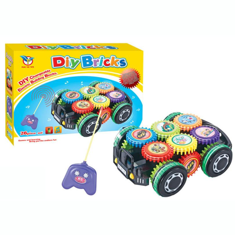 DIY Imagination Building Bricks Blocks Remote Control Car Building Kit Toys For Children Building Blocks Educational Toys t211