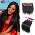 Top 7A Mink Peruvian Virgin Hair With Closure Peruvian Straight Hair With Closure Ear To Ear Lace Frontal Closure With Bundles