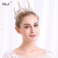 Miallo Luxury Gold Colore Dei Capelli Dei Monili Rotondo Strass Wedding Diademi E Corone Pageant Regina Tiara TS_J2057