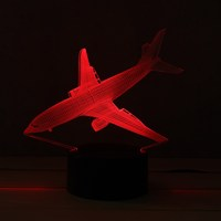 7 Color Aircraft Acrylic LED 3D LED Night Light Toys Lamp Air Plane Night Touch Table