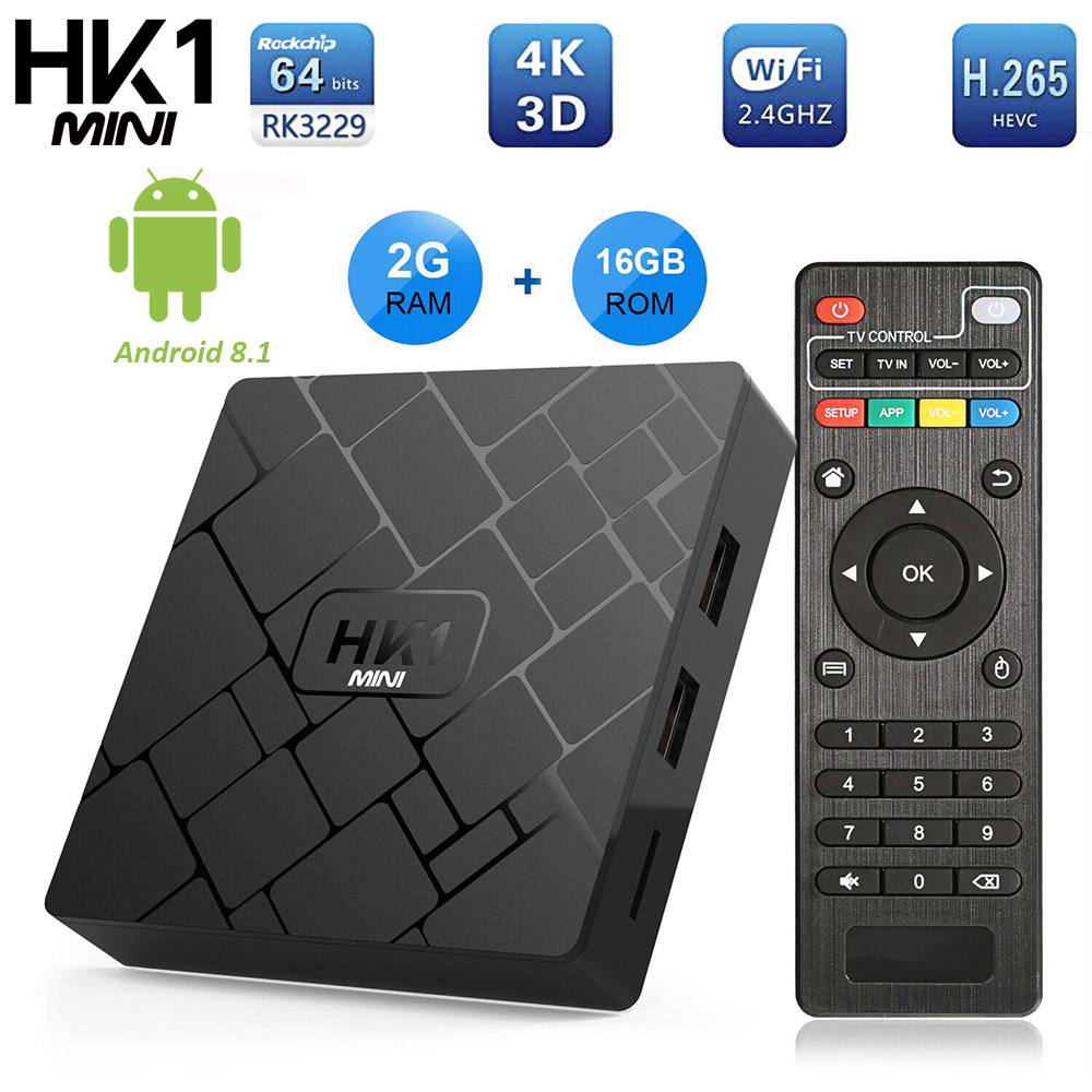 Newest Android 8.1 Smart TV BOX HK1 Mini 2GB 16GB Rockchip RK3229 Quad Core WIFI H.265 HEVC 4K 3D Set Top Box Media Player