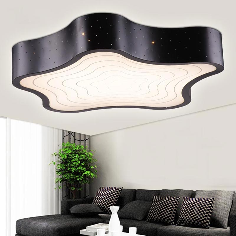 24W Led Ceiling Lamp Modern Bedroom Living Room White Star Iron Acrylic Lampshade Fashion Decoration Light Fixtures 110-220V