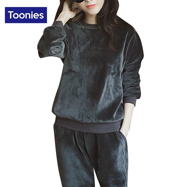 2017 Autumn Winter 2 Piece Set Women Cashmere Sportwear Two Piece Set Tracksuit Women Outerwear Sweat Suits Women Track Suit
