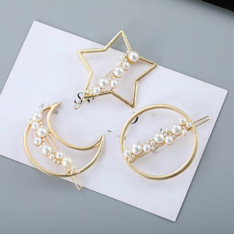 Korean Fashion Jewelry New Net Red Side Clip Round Bangs Clip Broken Hairpin Moon Pearl Five-pointed Star Hairpin