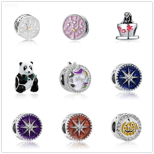 1813e4c42 Neastamor Silver Plated Bead The Tree Of Life Panda Halloween Pumpkin Beads  Charms Fit Women Pandora