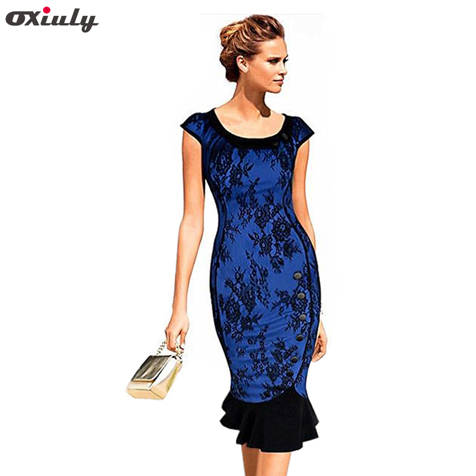 Oxiuly Sexy Knee Length Royal Blue Surface Lace Mermaid Dress Party Elegant Evening Casual Office Work Dress