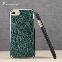 hot deal buy fierre shann cowhide small crocodile card holder case for iphone 7 8 first layer cowhide anti-knock for iphone 7 plus 8 plus