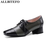 ALLBITEFO Genuine Leather Women Pumps Square Toe Fashion Mix Colors Medium Heel Comfortably Leisure Shoes Green