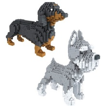 Assembly blocks Animal Model  toy Dog mini block dachshund Diamond Bricks Schnauzer Kids Gifts Christmas Present