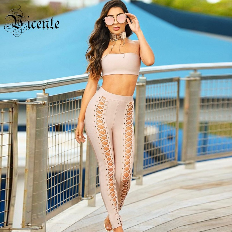 Vicente All Free Shipping 2019 Hot HOT Chic Sexy Strapless Cross Criss Lace Up Two Pieces