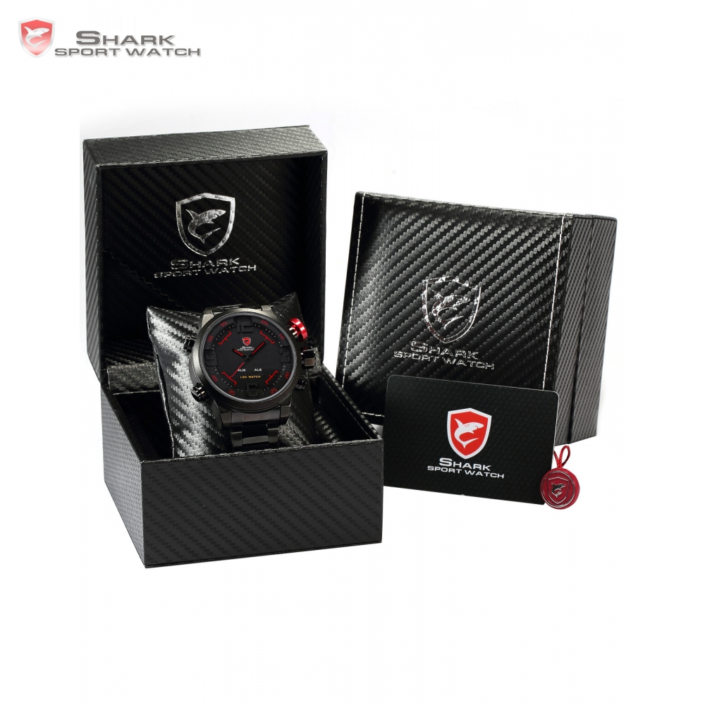 Luxury Box SHARK Sport Watch Dual Time LED Display Alarm Black Red Date Day Men Tag Relogio Digital Military homme / SH105+ZC156 цена