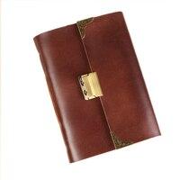 FREE SHIPPING Blank Diaries Journals Notebook Handmade Password Lock European Style 0122716