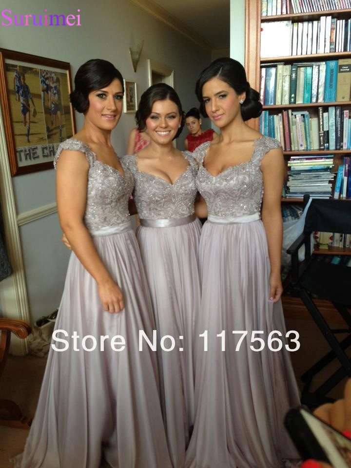Silver Gray   Bridesmaid     Dresses   A Line Cap Sleeve Applique floor length long Chiffon Nude Back brides maid   dress   vestidos de