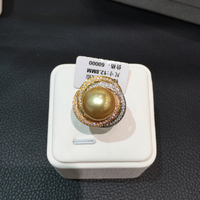 12 13MM Natural Gold Pearl Ring 18K Gold Diamond Southsea Pearl Real Pearl Romantic Fine Women