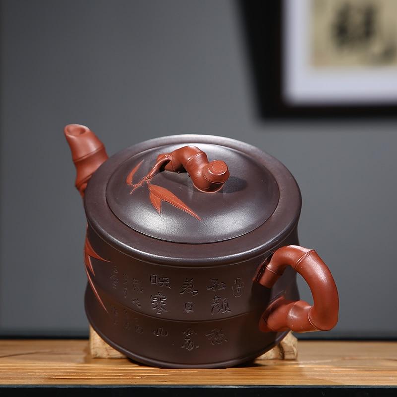 PINNY 350 ml YiXing fioletowy gliny bambusa czajniczek ręcznie wykonane ceramiczne naczynie na herbatę czajnik chiński Kung Fu zestaw herbaty fioletowy piasek rzemiosło w Dzbanki do herbaty od Dom i ogród na  Grupa 3
