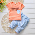 2016 verão bebê crianças crianças unisex meninos menina curto T camisa calças conjunto esportes conjunto de roupas de moda macio roupa da escola carta