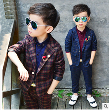 Boy Blazer Suits 2pcs/set(Jacket+Pants) Boys Formal Suits for Weddings England Style Kids Plaid Formal Party  Boys Formal Suit boys 3pcs suits flower boys wedding tuxedo 3 piece suits page boy party formal custom