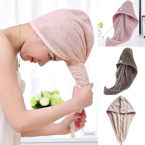 New Hot Women Large Quick Dry Twist Hair Turban Towel Fast Solid Microfiber Hair Wrap Bath Towel Cap Hat