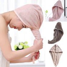 Nowe gorące kobiety duże szybkie suche Twist ręcznik Turban do włosów szybkie stałe z mikrofibry do włosów Wrap ręcznik Cap Hat