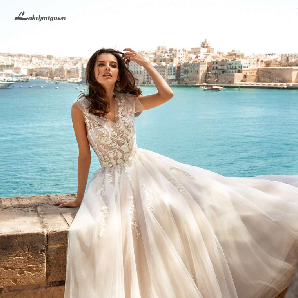 Lakshmigown Sexy Summer Wedding Dress Robe Mariee 2019 Boho Dentelle Tulle Long Bridal Dresses Wedding Gown Lace Appliques