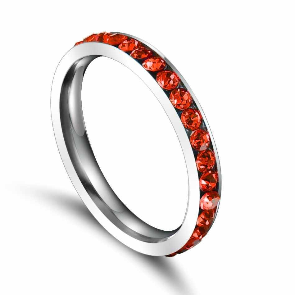 QianBei صفوف تشيكوسلوفاكيا الأحجار خاتم للنساء أنيقة ارتفع الفولاذ المقاوم للصدأ الزفاف الفرقة الإناث التحالف مجوهرات الزفاف هدية حفلة