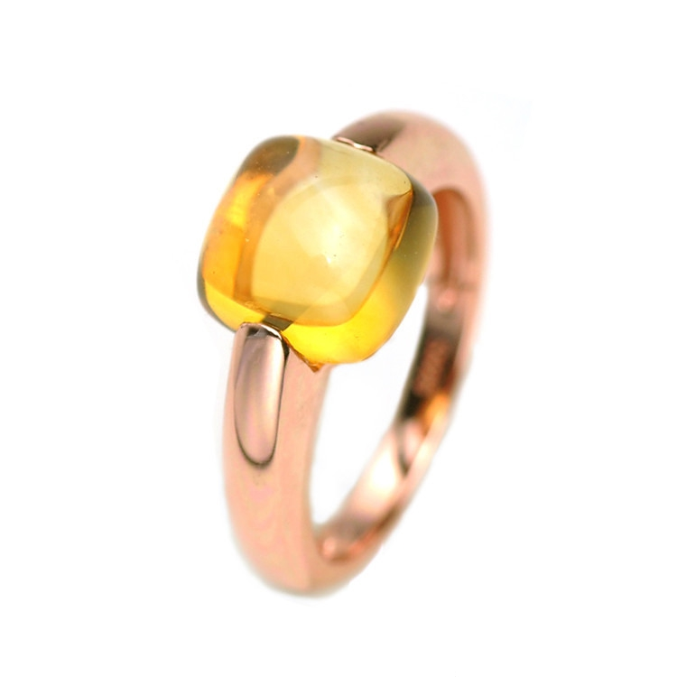 Natural Yellow Citrine Wedding Ring 925 Sterling Silver Fine Jewelry Gift