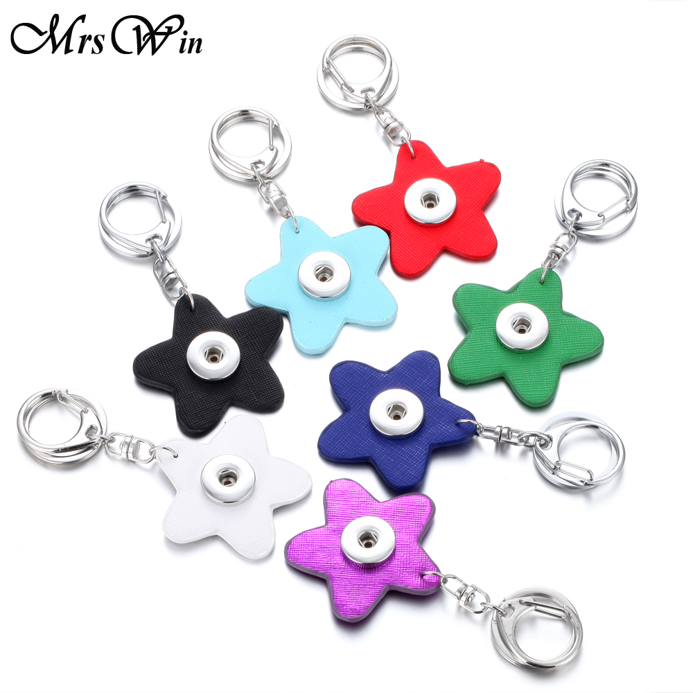 Mrs Win Snap Jewelry Starfish Snap Button Key Chain For Keyring 18mm Leather Snap Keychains