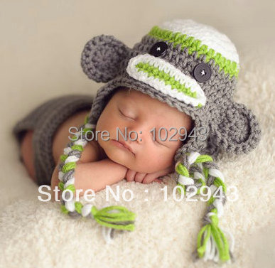 46c5bae23f0 2015 NEW Crochet Baby Boy Hat Monkey Caps baby earflap hat newborn baby  photography props baby-hats