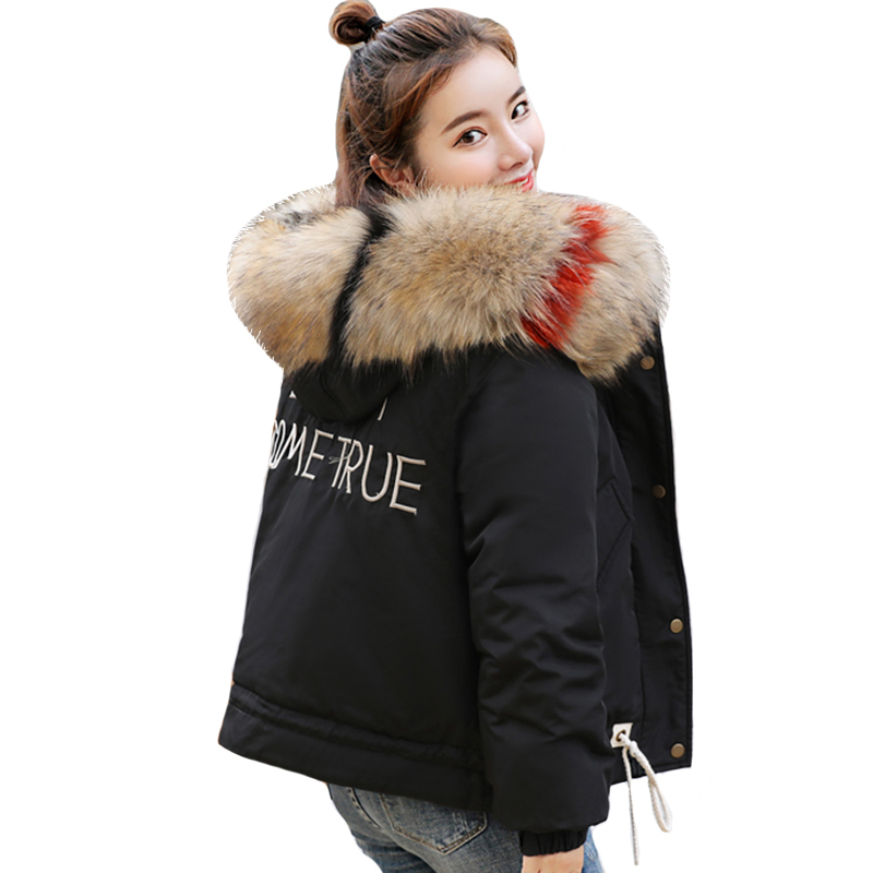 2019 New Arrival Winter Jacket Women Short Outwear Fashion Womens Jacket Hooded With Big Fur Collar Female Coat   Parkas   Casaco
