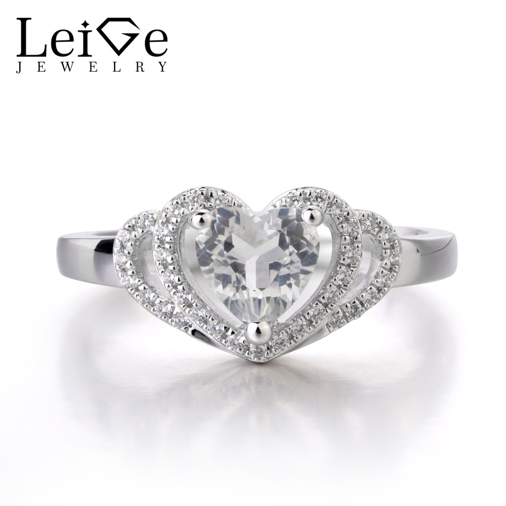 LeiGe Jewelry Natural White Topaz Ring Heart Cut Trendy Wedding Bands Engagement Ring With Stone 925 Sterling Silver
