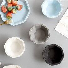 European Octagonal Ceramic Simple Scrub Home Geometry Bowl Breakfast Rice Snack Salad Kitchen Supplies