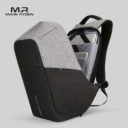 Mark Ryden Homens de carregamento USB Multifunction 15 polegada Laptop Mochilas Para Adolescente Moda Masculina Mochila de Viagem mochila anti ladrão
