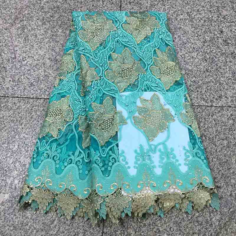 High Quality Stones Hot Sell African Lace Fabric Tulle Mesh 2018 Aqua green Cord Net Lace