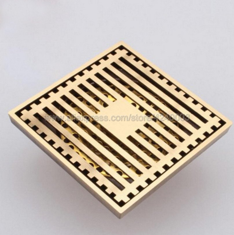 Antique Brass Floor Drain Cover Shower Square Waste Grate Strainer Hair Bathroom Bath Accessories Khr026 shower drain 10cm 10cm push down pop up drain strainer chrome brass square drainer floor drain waste grate bath accessories 8608