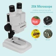20X LED Microscopio Binocular Estéreo PCB Solder Herramienta Insectos Planta Reloj de Los Estudiantes de Ciencias de La Educación Microscopio AOMEKIE Embroma el Regalo