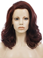 Imstyle Wavy Wine Red color synthetic lace front wig for drag queen cosplay
