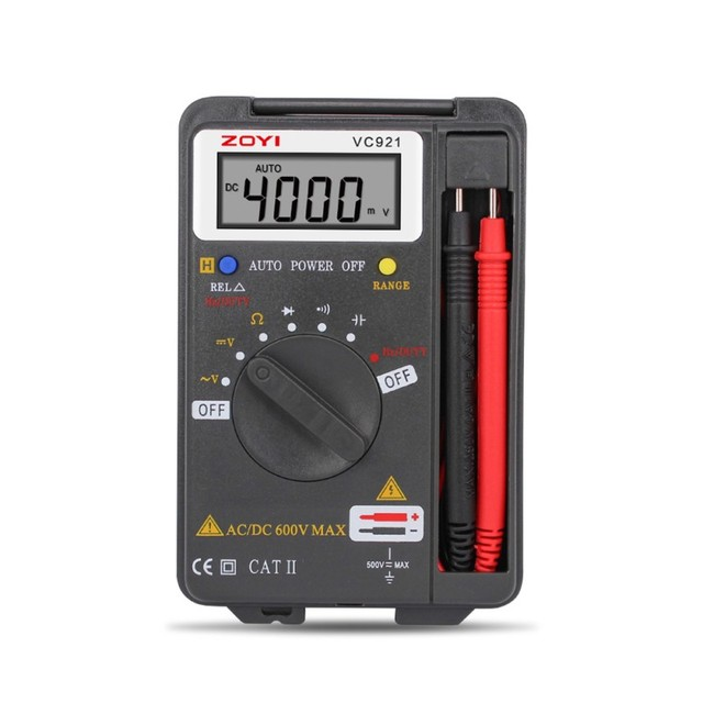 ZOYI Handheld Digital Multimeter 4000 Counts VC921 Auto Range AC/DC Transform Voltmeter Ohm Capacitance Diode with Backlight