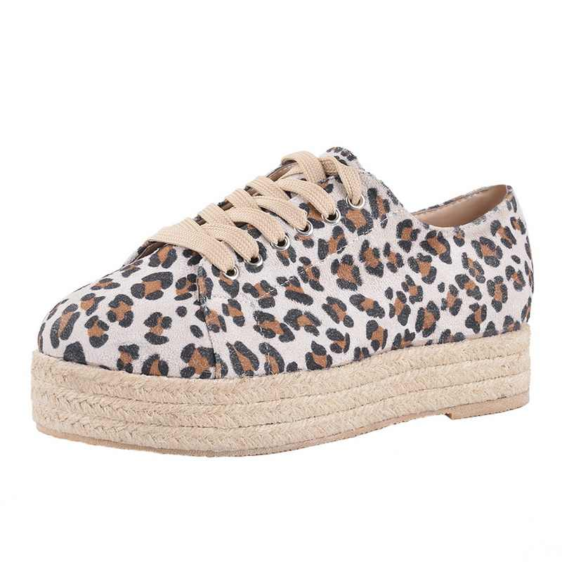Lookykit moda leopardo zapatos de mujer 2019 zapatos de plataforma de lona Casual de encaje para mujer Sneakesr cómodos planos Dropship