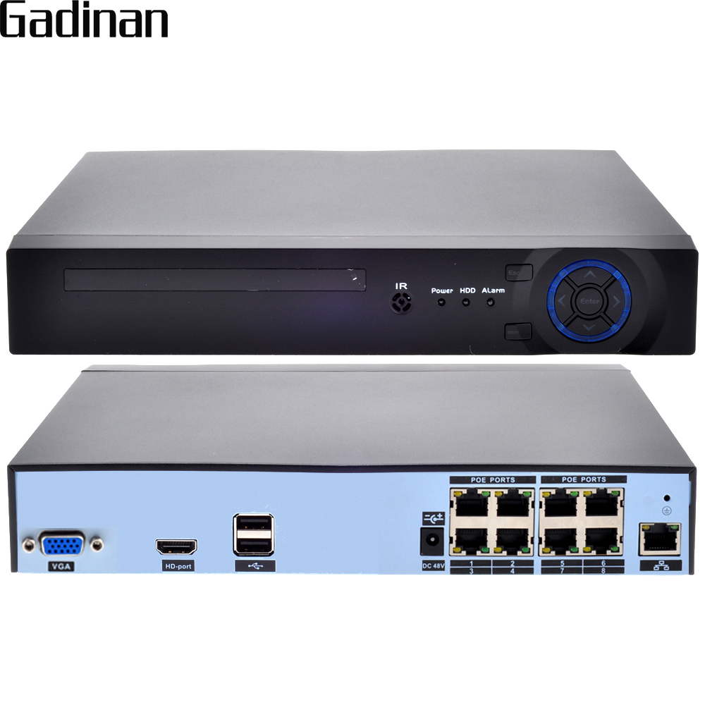 GADINAN H 265 H 264 8CH 48V POE IP Camera NVR Security Surveillance CCTV System P2P