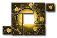 6 Panel Pictures Set Hand Painted Abstract Tree Oil Painting Modern Home Decor Wall Art Huge