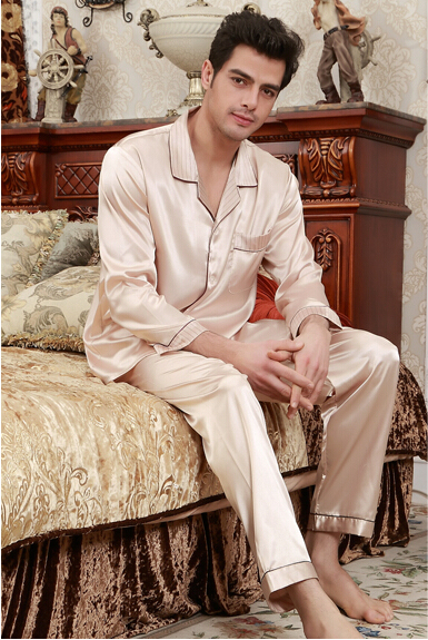 Men Nightwear Casual Full Sleeve Sexy Solid Pajamas Sets Male Autumn Home Wear Mens Sleepwear