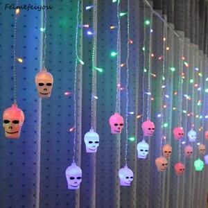 Image 1 - LYFS 3.5M 96 LED Halloween Curtain Light Strings Skull Style Holiday Lighting Bedroom Living Room Halloween Atmosphere Decor